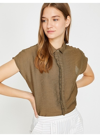 Koton Kısa Kollu Fırfırlı Gömlek Haki